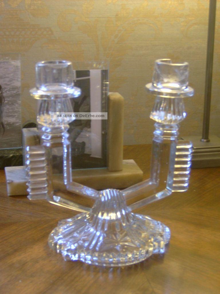 art deco kerzenst nder kerzenhalter aus pressglas um 1920 b hmisch prag. Black Bedroom Furniture Sets. Home Design Ideas
