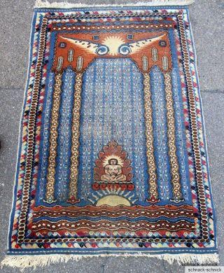 Teppich Wandteppich Bilderteppich Tibet Handgeknüpft Um 1930 Buddha Buddhismus Bild