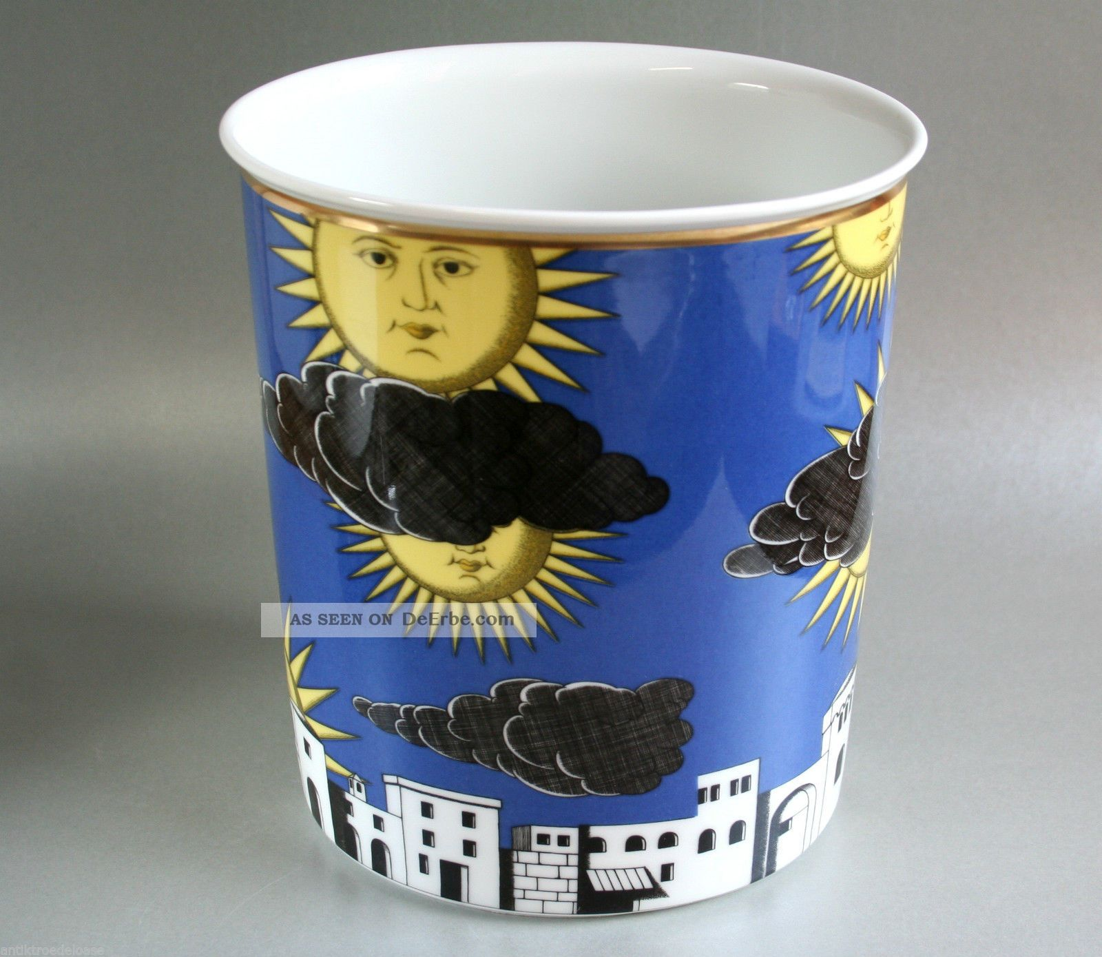 Fornasetti Für Rosenthal Porzellan Vase - Il Sole Di Capri - H:20cm Top Design Nach Marke & Herkunft Bild