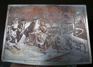 Dose Jugendstil Tabatiere Bild Gravur Spaziergang V Alonso Perez Art Nouveau Box Bild