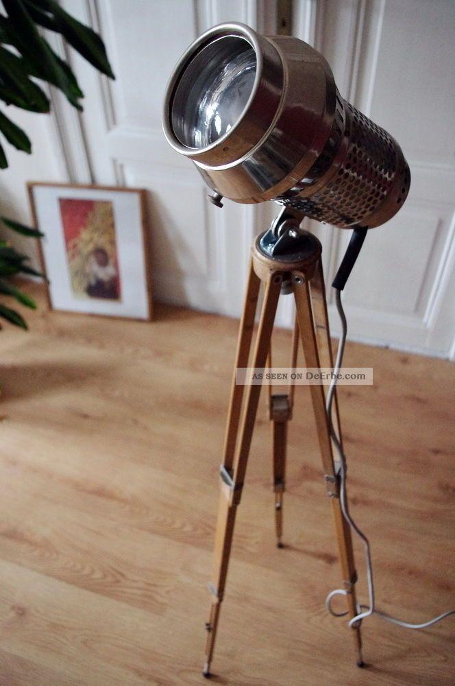 bauhaus tripod loft steh lampe holz stativ art deco design metall retro dreibein. Black Bedroom Furniture Sets. Home Design Ideas