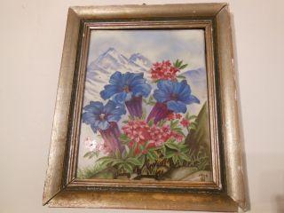 Wandbild Antik Porzellanbild Fliese Kachel Porzellan Gerahmt Handbemalt 1946 Bild