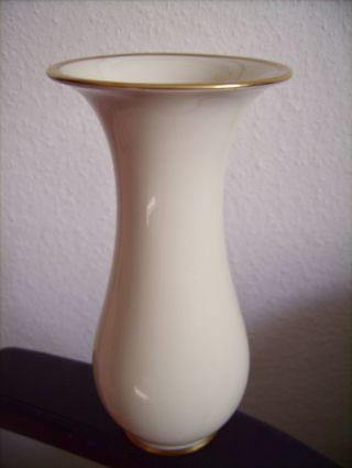 Eschenbach Alte Vase Weiß Elfenbein Porzellan Goldrand Jugendstil / Art Deco Bild