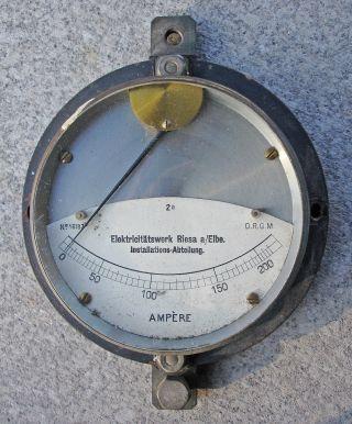 Amperemeter Strommesser Ampère Art Déco Elektricitätswerk Riesa A/elbe Antik Alt Bild