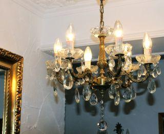 Alter Antiker Kronleuchter/lüster/kristall/jugendstil Aus Frankreich Bild