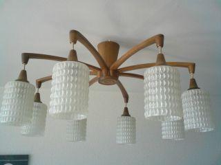 Teak Holz Deckenlampe Leuchter Temde 50er - 60er Jahre Rockabilly Bild