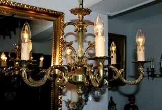 Großer Alter Antiker Kronleuchter/chandelier 6 Flammig/frankreich Bild
