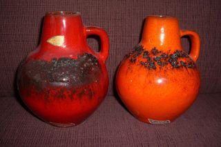 Paar Fat Lava Keramik Vasen,  West Germany Kreutz Keramik Nr.  207 Bild