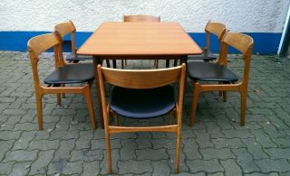 60s 60er Jahre Teak Stuhl Erik Buck 6 Dinner Chairs Danish Modern Mid Century Bild