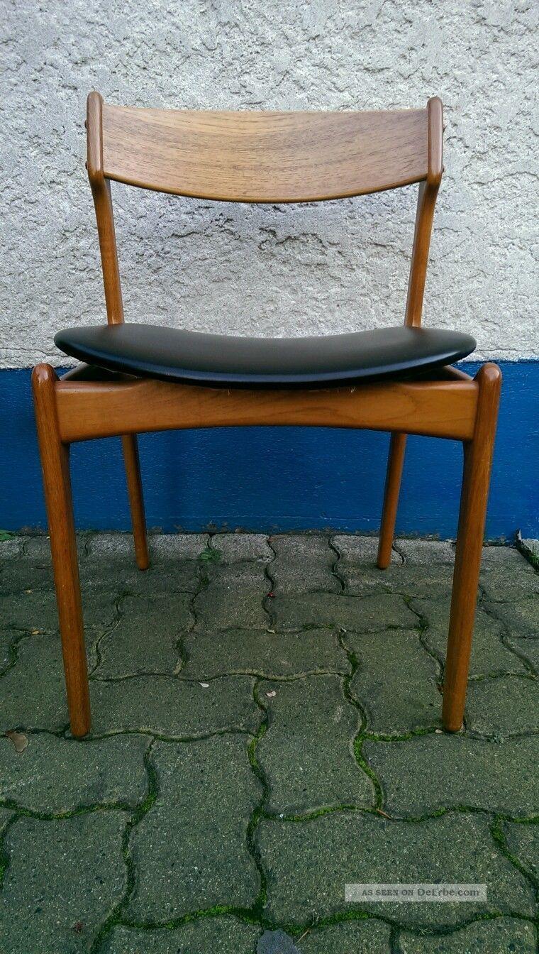 60s 60er jahre teak stuhl erik buck 6 dinner chairs danish modern mid century. Black Bedroom Furniture Sets. Home Design Ideas