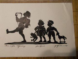 Art Deco Scherenschnitt Kinder Spielsachen BÄr Holzpferd Signatur 1937 Bild