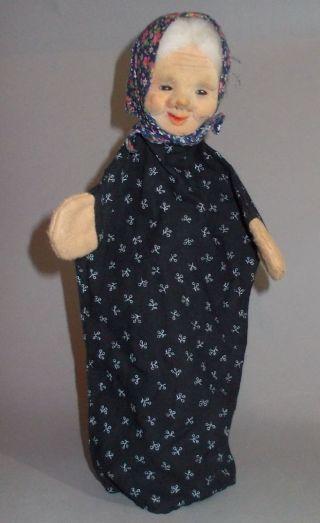 1960er - 1970er Handpuppe Grossmutter Rar Kopf Pvc Beflockt 30 Cm Bild