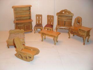 kuchenmobel um 1950 : Puppenstube Handgefertigt Holz 8 Teile Helles Holz Lackiert, Bezogen ...