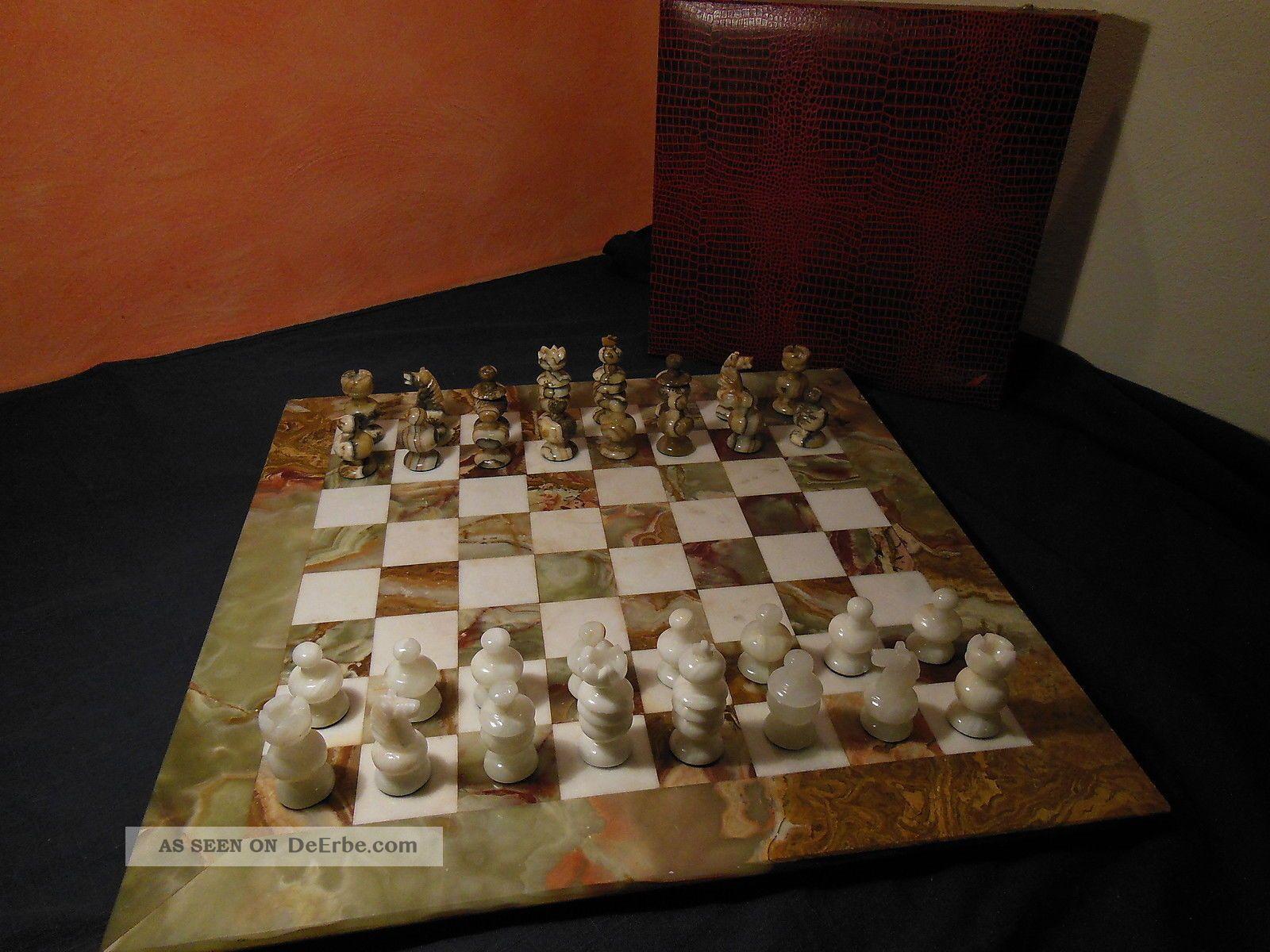 Gro es schweres schachspiel 50 x 50 cm onyx marmor for Onyx marmor tisch