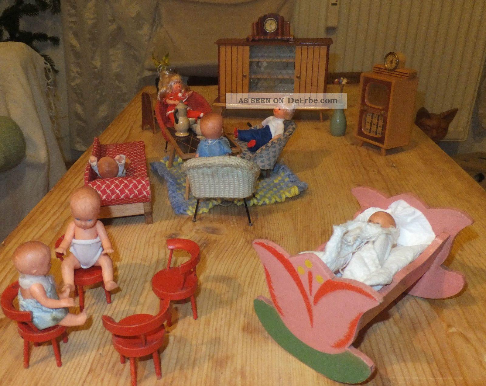Puppenhaus m bel wohnzimmer ddr 60 er jahre puppenstube for Schaukelstuhl ddr