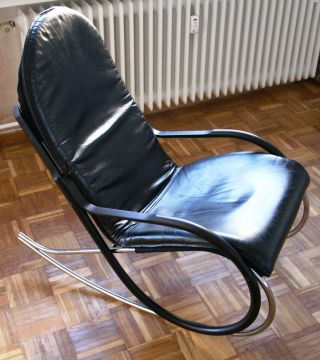 Paul Tuttle,  Schaukelstuhl,  Rocking Chair,  Nonna,  Black/gunmetal,  1971,  Top Bild