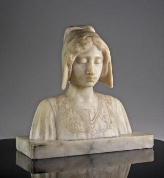 Wunderschöne Alabaster Büste Einer Jungen Frau Italien 1880 Italy Bild