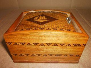 Schatulle,  Miniatur - Rolladenschrank Rollschränkchen Schublade Kästchen,  Intarsie Bild