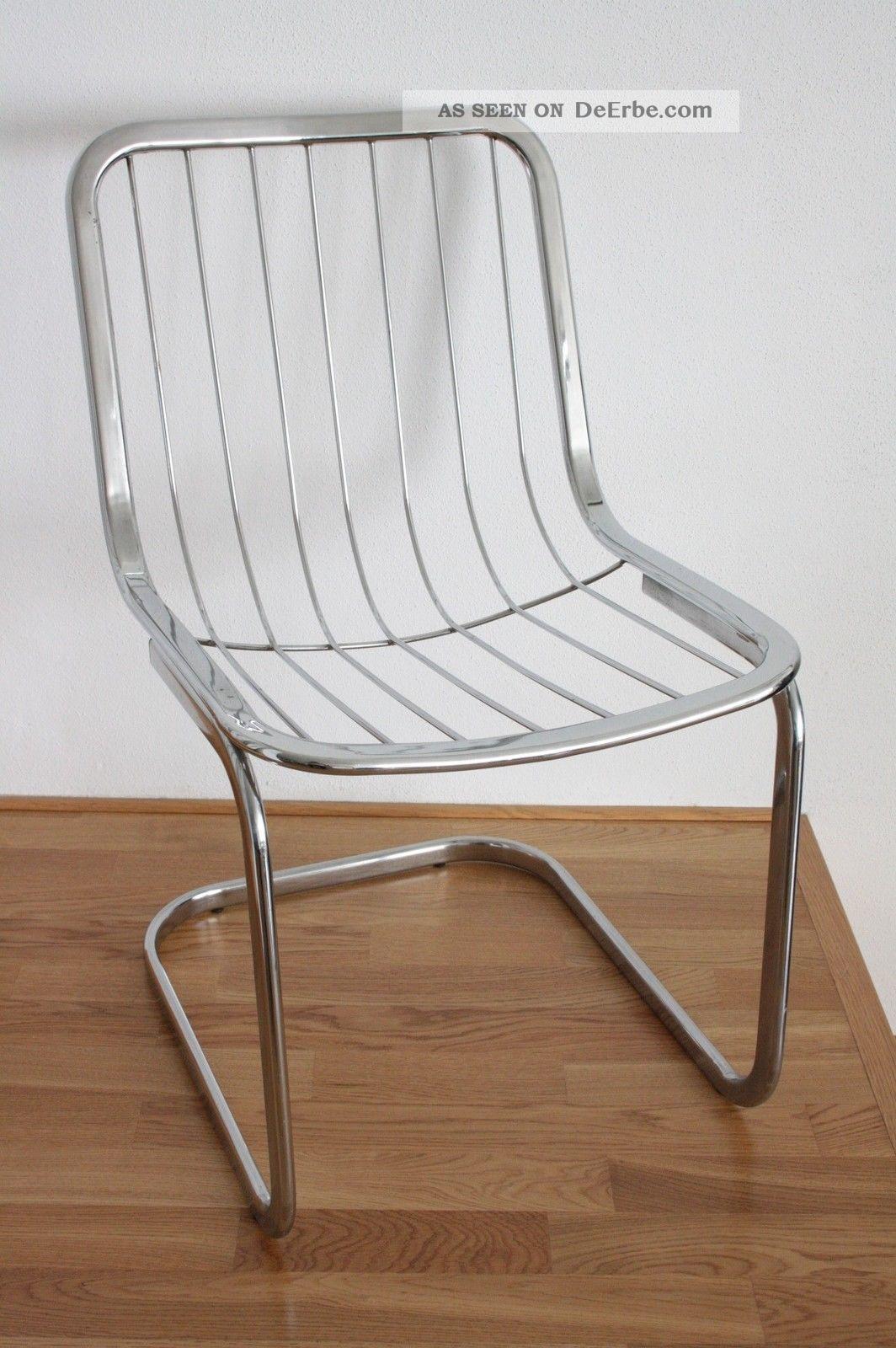 2 Stück Designer Sessel Freischwinger ära Bauhaus Design Metall