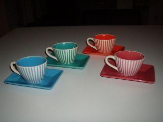 4x Mokkatassen / Espressotassen 50er Jahre - Gestreift - Farben Bild