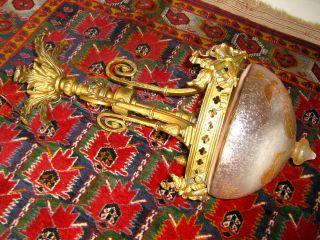 Orig.  Jugendstil Deckenlampe Bronze Glas WunderschÖn Funktioniert Bild