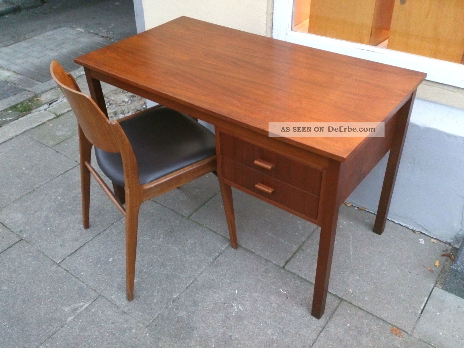 teak holz schreibtisch tisch dk retro 60er 70er style 60s. Black Bedroom Furniture Sets. Home Design Ideas