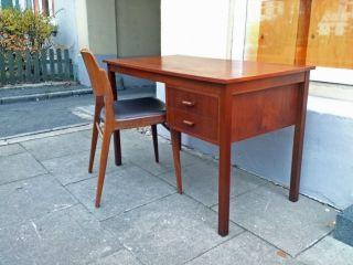 Teak Holz Schreibtisch Tisch Dk Retro 60er 70er Style_60s 70s Vintage Desk Bild