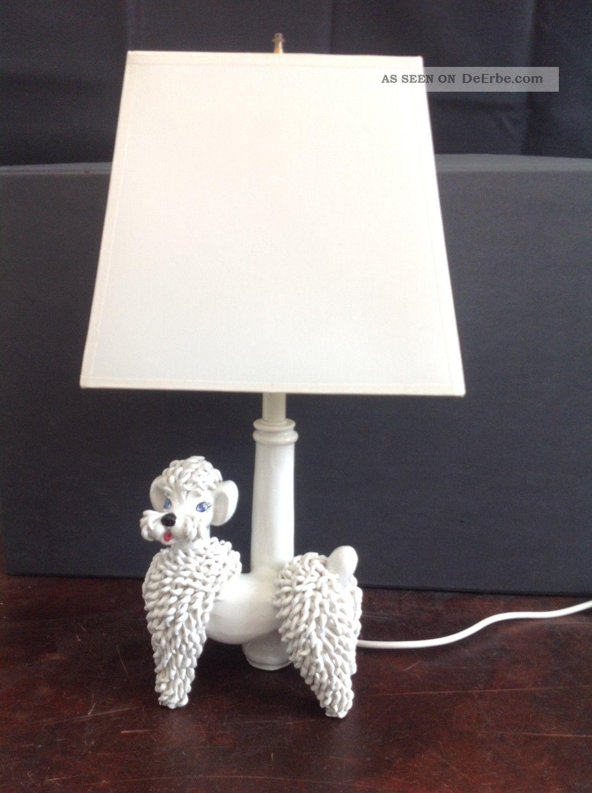 Seltene Mid Century Vintage Pottery Pudel Lampe Porzellan
