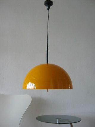 70er Große Orange Gelbe Staff Halbkugel Pendelleuchte Lampe Space Colani Stil Bild