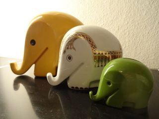 3 70er Panton Ära Colani Design Dresner Bank Porzellan Hoechst Spardose Elefant Bild