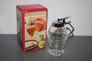 Bmf Honigspender Glas 70er Jahre Unbenutzt Neuwertig Mit Ovp Aus Nachlass Bild