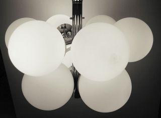 70er 9 - Fach Chrom Sputnik Atomium Opalglas Kugelleuchte Lüster Pistillo Colani Bild