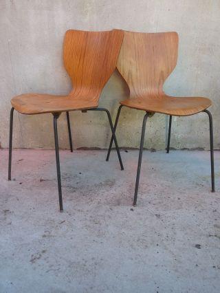 2x Design Teakstuhl,  Made In Dänemark,  Antik 60er Im Arne Jacobsen Stil (ameise) Bild