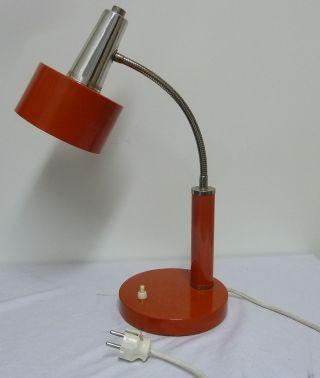 Kleine Orangefarbene Schreibtischlampe 70er Jahre,  Verstellbar Bild