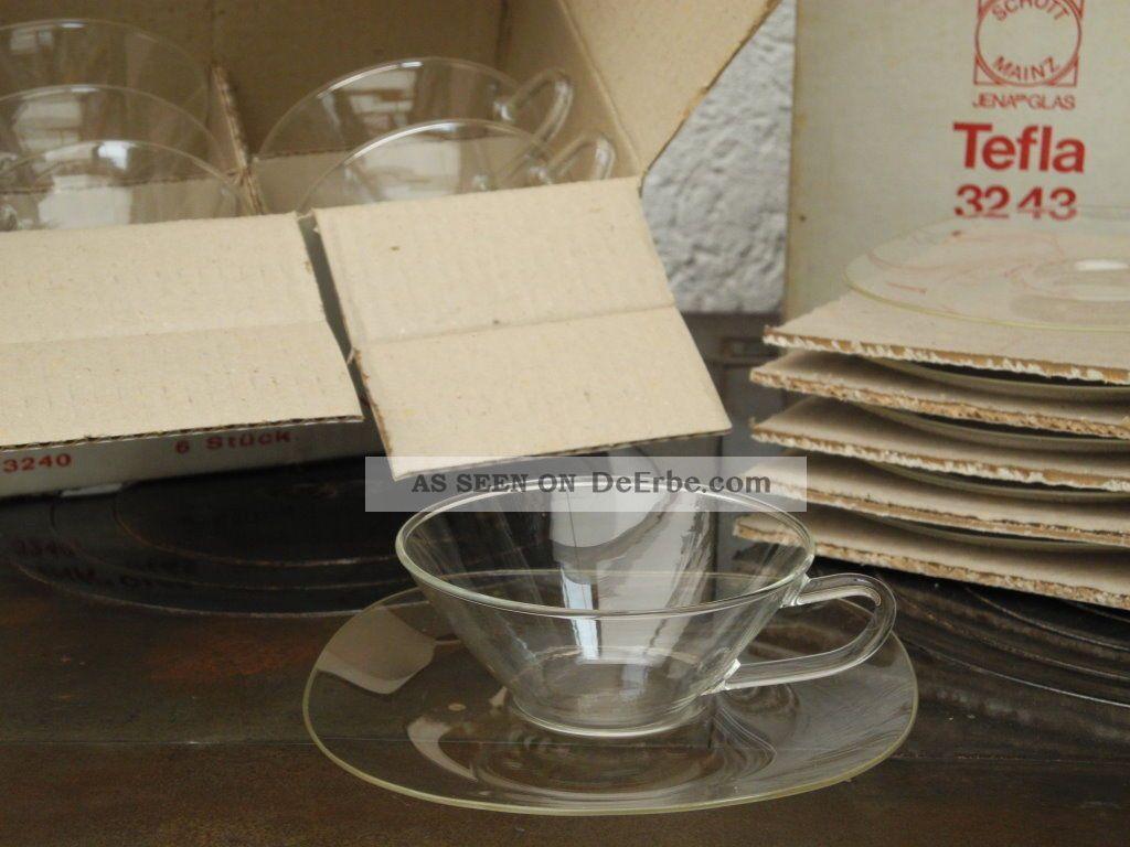 6x Jenaer Glas Teegläser Teeschalen Und Unterteller Ovp Entwurf Löffelhardt 1950-1959 Bild