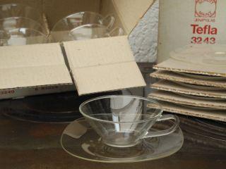 6x Jenaer Glas Teegläser Teeschalen Und Unterteller Ovp Entwurf Löffelhardt Bild