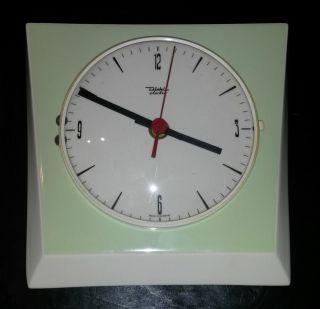70 Er Jahre Retro Vintage Wand Uhr Porzellan Quartz Diehl Electro Mintgrün Weiß Bild