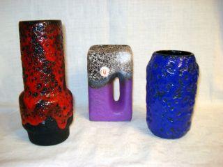Konvolut : 3 X Fat Lava Design Keramik Vasen,  Deutschland,  60er Bild