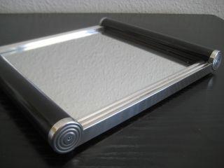 Art Deco Bauhaus Spiegel Tablett Holz Aluminium Streamline Um 1930 Bild