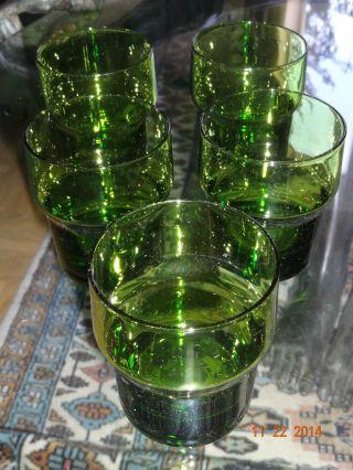 5 Glas Becher Kristallglas Überfang Grün Pop Art 60er 70er Jahre Bild