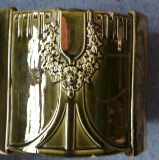 Antiker Jugendstil Blumentopf Übertopf Dekor Cachepot Tannengrün Aus Sammlung Bild