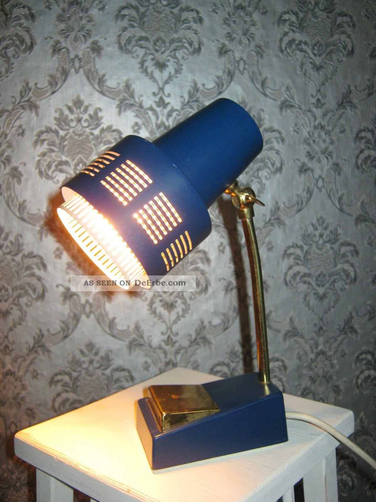 Alte Kleine Lampe Leuchte Nachttischlampe Blau Messing 50er Jahre Kugelgelenk 1950-1959 Bild