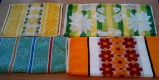 4 X Handtuch Frottee Pop Pril Blumen Stil 70s 70er Handtücher Bild