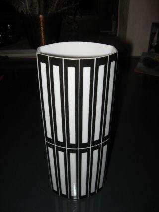 Pop Art Design Vase Weiß Schwarz Fürstenberg Porzellan 1367/2 Höhe: 25,  3 Cm Bild