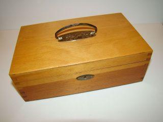Antike Jugendstil Holz Schatulle Nähkästchen Buche Bild