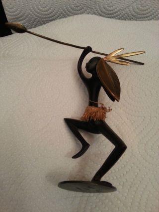 Hagenauer Wiener Bronze Gemarkt Mit Whw: Afrikanischer Krieger Tanzend Bild