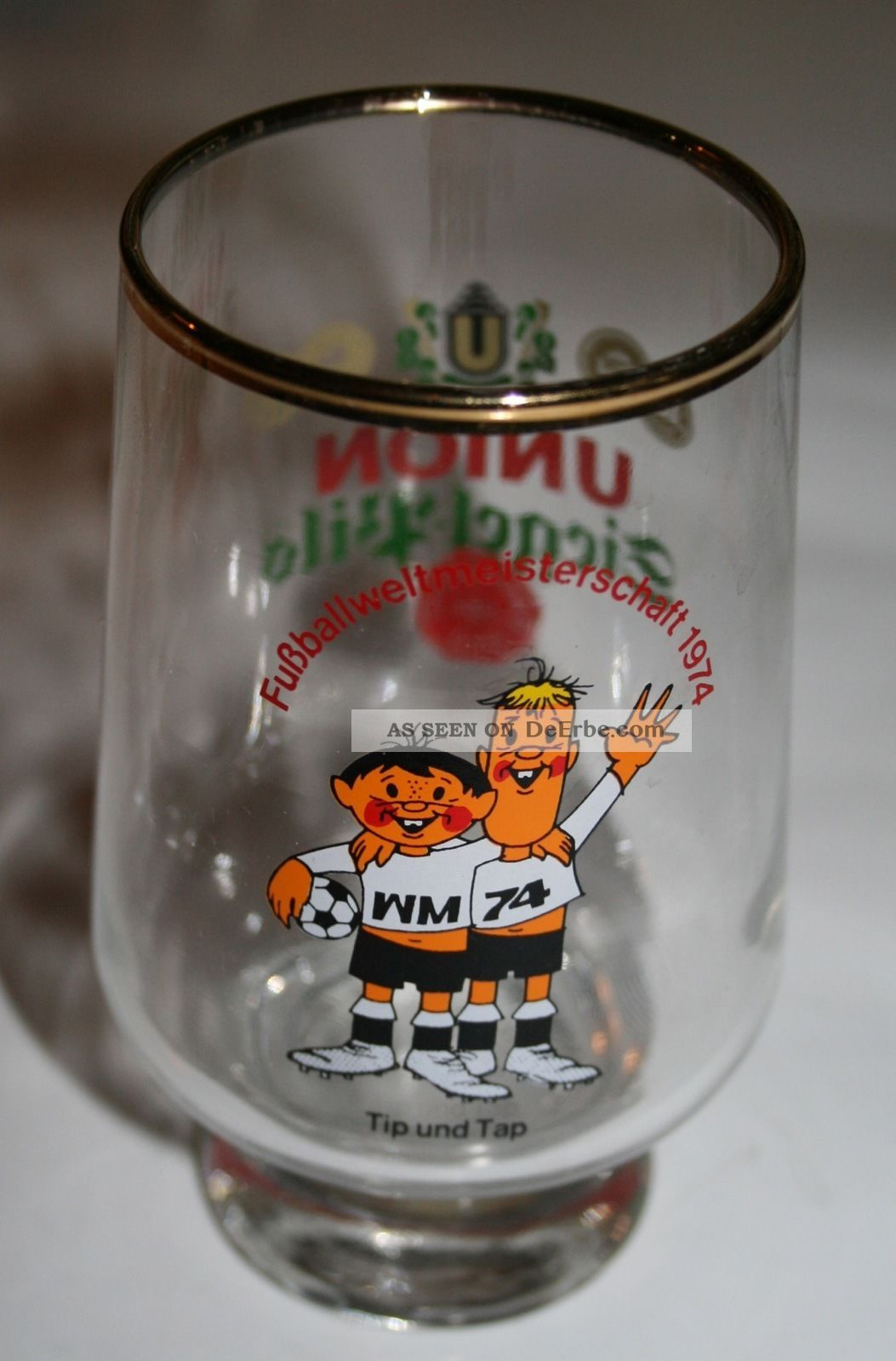 70er Jahre Glas Bierglas Tip Und Tap Fußball Wm 1974 Dortmunder Siegel - Pils 1970-1979 Bild