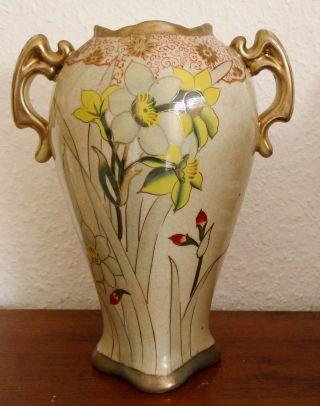 Henkelvase Jugendstil 1910 Blumenmuster Gold Reinhold Schlegelmilch Tillowitz Bild