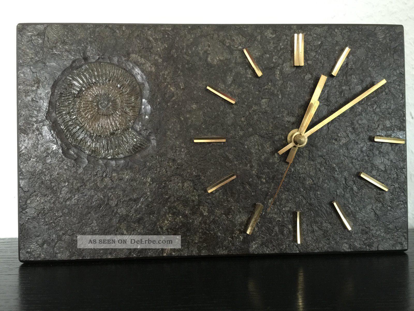 Unikat Schiefer Uhr Holzmaden Baden - Württemberg 25x15cm Zum Aufstellen 1970-1979 Bild