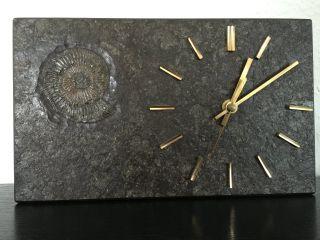 Unikat Schiefer Uhr Holzmaden Baden - Württemberg 25x15cm Zum Aufstellen Bild